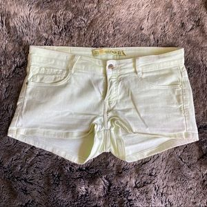 Zara • denim shorts • neon yellow/green • size 6